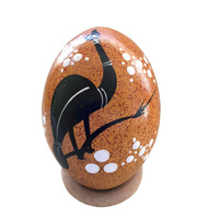 Aboriginal Art Handpainted Handmade Small Ceramic Egg - Kangaroo/Emu (Ochre