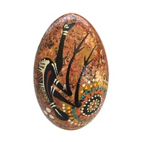Handpainted Aboriginal Art Emu Egg with Stand - Emu (Yellow Ochre)