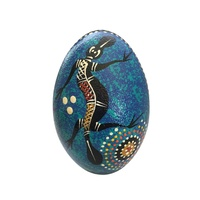 Handpainted Aboriginal Art Emu Egg with Stand - Platypus (Blue)