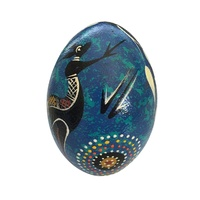 Handpainted Aboriginal Art Emu Egg with Stand - Kangaroo (Blue)