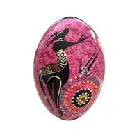 Handpainted Aboriginal Art Emu Egg with Stand - Kangaroo (Pink)