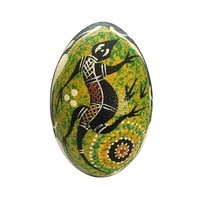 Handpainted Aboriginal Art Emu Egg with Stand - Goanna (Green)