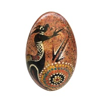 Handpainted Aboriginal Art Emu Egg with Stand - Kangaroo (Brown)