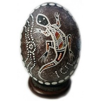 Stephen Hogarth Aboriginal Art Handpainted Emu Egg - Lizard