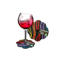Bunabiri Aboriginal Art Neoprene Wine Glass Coaster - Rainbow River (Black)