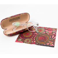 Warlukurlangu Aboriginal Art Glasses Case/Lens Cloth - Emu Dreaming