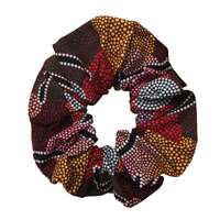 Bulurru Aboriginal design Hair Scrunchy - Men's Ceremony (Red)
