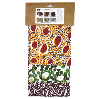 Hand Printed Aboriginal Art Cotton Handkerchiefs (Set 3) - Set A