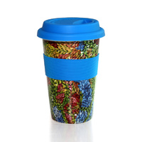 Aboriginal Bone China Eco Travel Mug - Bushflowers & Seeds