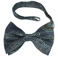 Yijan Aboriginal design Polyester Bowtie -  Fire N Water (Blue)