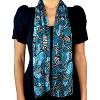 Jijaka Aboriginal Art Silk Chiffon Scarf - Riverstones (Brown/Teal)
