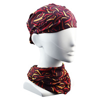 Jijaka Aboriginal Art Multi Headscarf - Boomerangs (Burgundy)