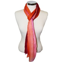 Sabelle Merino Wool & Silk Scarf - Orange, Pink and Purple