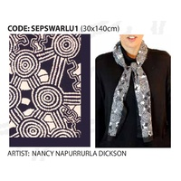 Scorched Earth Aboriginal Art Polyester Chiffon Scarf - Warlu 1