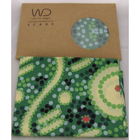 Warrina Silk Scarf (SQ) - Water Dreaming (Green)