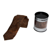 Better World Aboriginal Art Woven Silk Tie - Yalka - Bush Onion (Brown)