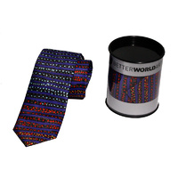 Better World Aboriginal Art Digital Print Silk Tie - Water Dreaming