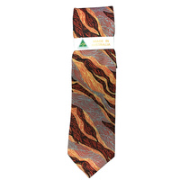 Scorched Earth Aboriginal Art Polyester Tie - WARLU4 (Ochre)