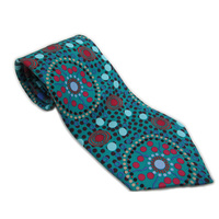 Warrina Aboriginal Art Silk Tie - Dreamtime Flowers (Blue)