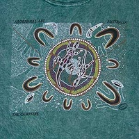 Campfire (T-dye Green) - Aboriginal design T-Shirt