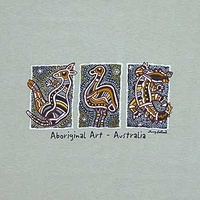 Aboriginal design Kids T-Shirt - 3 Animals (Beige)