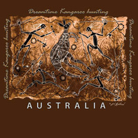 Dreamtime Kangaroo Hunting - Aboriginal design Kids T-Shirt