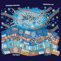 Aboriginal design Kids T-Shirt - Kangaroo Dreaming (Navy)