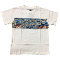Australia Aboriginal design Kid's T-shirt - Ocean Dreaming (White)