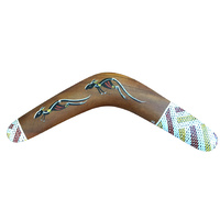 "Original Handpainted 40cm (16"") Aboriginal Dot Art Boomerang - 2 Kangaroos (XHatch End)"