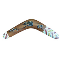 "Original Handpainted 40cm (16"") Aboriginal Dot Art Boomerang - 3 Kangaroos (XHatch End)"