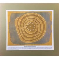 Dreamtime Kullilla-Art Ready-to-Frame oster Print - The Great Watersnake (Olive)