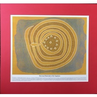 Dreamtime Kullilla-Art Ready-to-Frame oster Print - The Great Watersnake (Red)