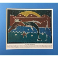 Dreamtime Kullilla-Art Ready-to-Frame Poster Print - The Whale's Awakening (Blue)