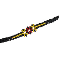 Aboriginal Wristband - 3 Flower Beaded Tie