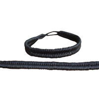 Aboriginal Wristband - 2pce Solid Black Braid
