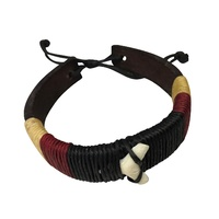 Aboriginal Black Leather 3 Colour adjustable Wristband with Sharktooth