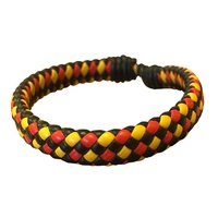 Aboriginal Plaited Leather Adjustable Wristband