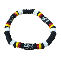 Aboriginal Wristband - Stretch Black Bead (4 Colour)