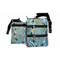 Bunabiri Aboriginal 3 Zip Shoulder Bag - Barramundi