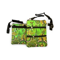 Bunabiri Aboriginal 3 Zip Shoulder Bag - Hunters & Gatherers Rainforest