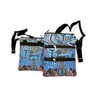 Bunabiri Aboriginal 3 Zip Shoulder Bag - Hunters & Gatherers Reef