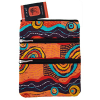 Jijaka Aboriginal Art 3 Zip Canvas Shoulder Bag - Coastal Dunes