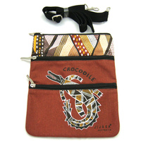 Jijaka Aboriginal Art 3 Zip Canvas Shoulder Bag -  Crocodile