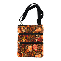 Jijaka Aboriginal Art 3 Zip Canvas Shoulder Bag - Riverstones Orange