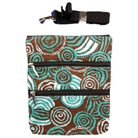 Jijaka Aboriginal Art 3 Zip Canvas Shoulder Bag - Riverstones (Turquoise)