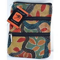 Jijaka Aboriginal Art 3 Zip Canvas Shoulder Bag - Tea Tree