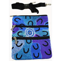 Yijan 3 Zip Aboriginal Shoulder Canvas Bag  - Crow Women Dreaming [Blue]