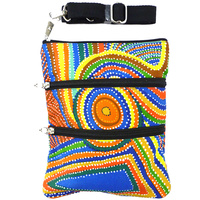 Yijan 3 Zip Aboriginal Canvas Shoulder Bag - Two Boys Country