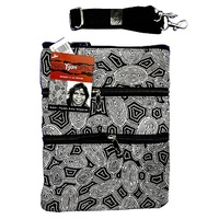 Yijan Aboriginal 3 Zip Canvas Shoulder Bag - Women Travelling Dreaming [Black & White]]