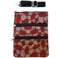 Yijan Aboriginal Art 3 Zip Canvas Shoulder Bag - Women Travelling Dreaming (Red)
